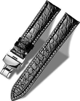 MUEN Bracelet Cuir de Crocodile Véritable avec Boucle Déployante, 12mm-24mm, Accessoires de Montre de Remplacement en Alligator Noir/Marron Bracelet de Montre