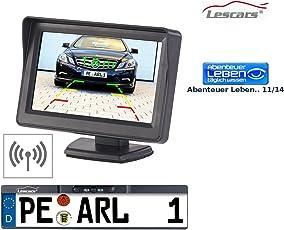 Lescars Rückfahrkamera: Funk-Rückfahr-Kamera im Nummernschild-Halter mit 10,9-cm-TFT-Monitor (Rückfahrkamera Funk)