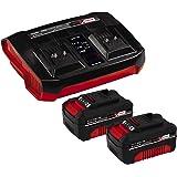 Einhell Original Starter Kit 2x 4 Ah batería y Twincharger Power X-Change (iones de litio, 18 V, 2 baterías 4.0 Ah y Twinchar