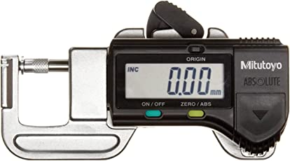 "Mitutoyo 700-118-20 Quick Mini Digital Thickness Gauge, Inch/Metric, 0-0.5"" (0-12.7mm) Range, 0.0005"" (0.01mm) Resolution, +/-0.001"" Accuracy"