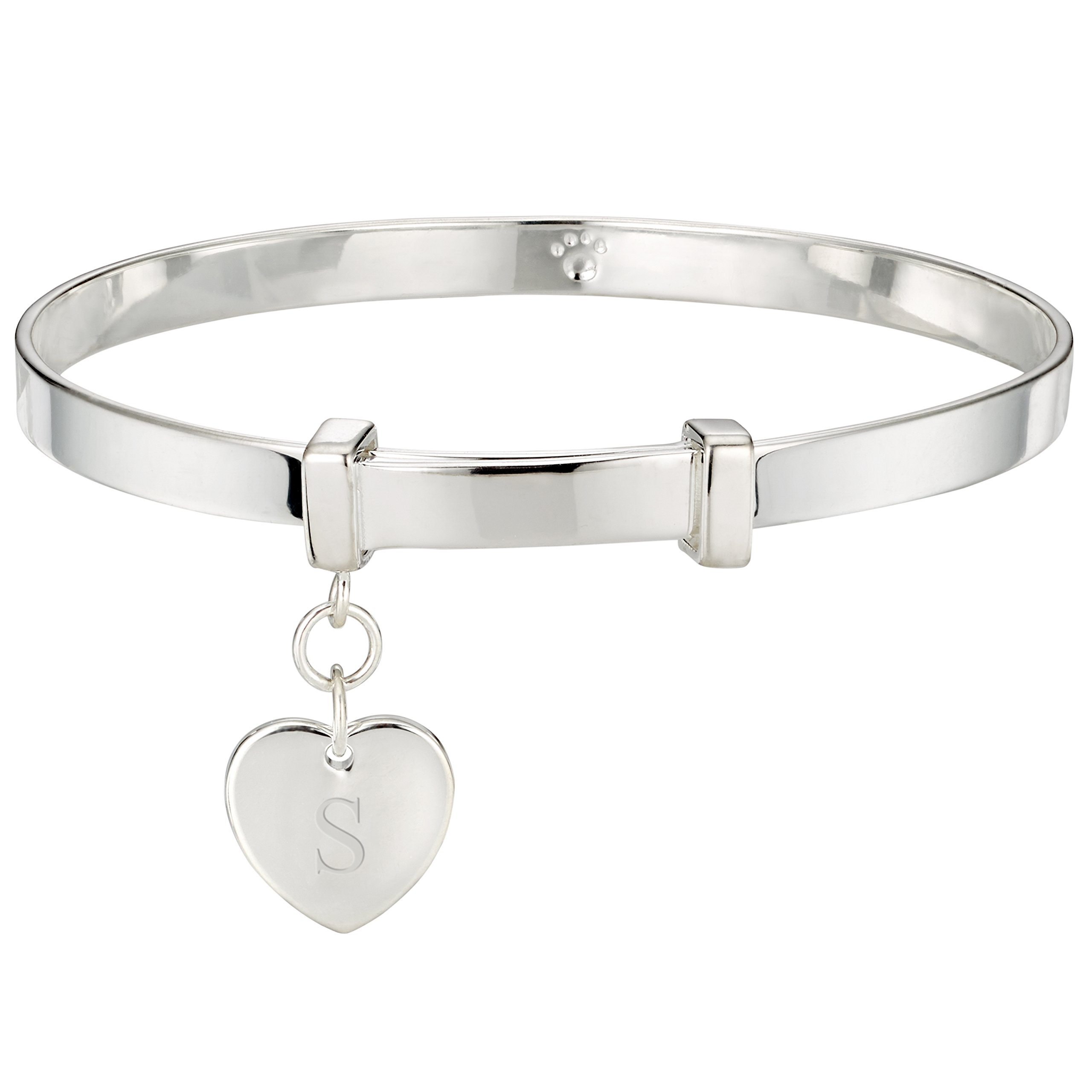 Molly Brown Personalised Sterling Silver Love Heart Christening Bangle for Baby – Perfect New Baby Gift & Toddler Jewellery