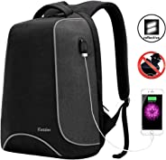 iCozzier 15.6 Inch Laptop Backpack with USB Charging Port, Multi-Space Lightweight Reflective Stripe Travel Bags,Outdoor,Sch