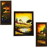 Indianara Wood Framed Wall Hanging Art, Multicolour - Set of 3