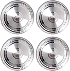 Prisha India Craft Stainless Steel Dinner Plates Thali, Dinnerware & Tableware (Silver, Diameter-10-inch)-Set of 4 Pieces