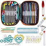 Niviy 100PCS Set de Crochets en Aluminium Accessoires à Tricoter 22PCS Assortiment Kit de Crochets Outils Trousse Orange en C