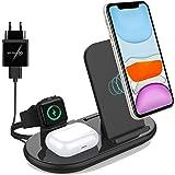 3 i 1 Trådlös Laddare, Induktiv Laddare kompatibel med iPhone 12 Pro max Mini 11 XR XS 8, Samsung S20 10 Not 8, iWatch 5/4/3/
