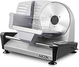 Aicok Allesschneider Premium-Gerät mit 150 W, elektrische Aufschnittmaschine, Wurstschneidemaschine, Käseschneidemaschine, Brotschneidemaschine, Silber
