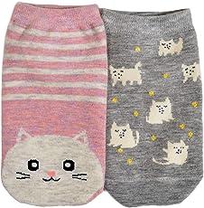 MARC Pack of 2 cotton low ankle designer socks for girls, women's