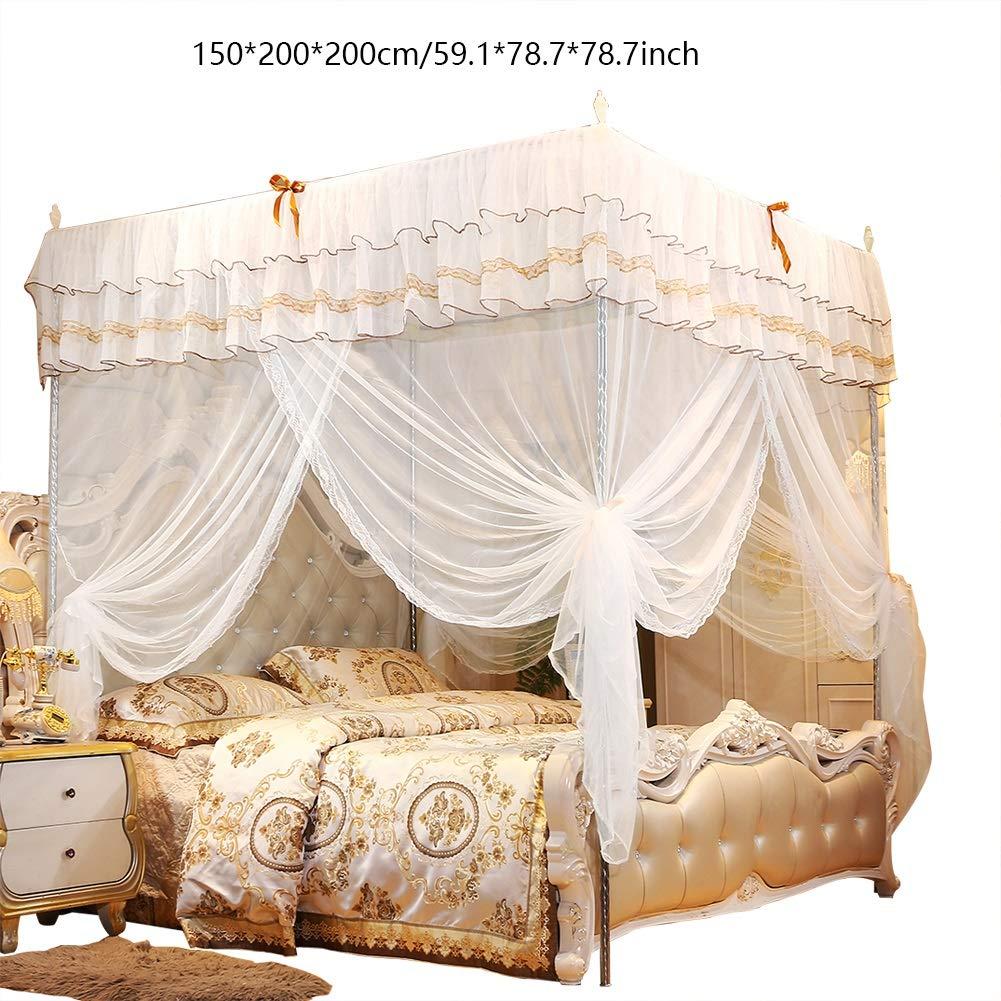 Luxury Princess 4 Corner Bed Zanzariere Camere da Letto Zanzariere Tende a  baldacchino Reti Zanzare con staffe (Colore : A, Dimensioni : Medio) | ...