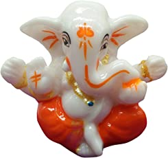 iKraft Lord Ganesha Car Dashboard Idol Divine Blessing Lord Ganesh Success God Sculpture - Orange