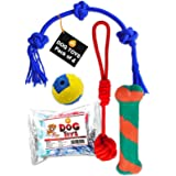 Boltz Combo of 4 Durable Dog Teeth Cleaning,Chewing and Biting Knotted Dog Toys -100% Natural & Safe (Color May Vary)
