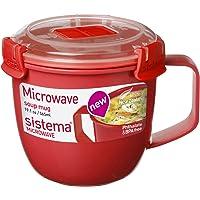 Sistema Microwave Soup Mug, , 565 ml - Red/Clear
