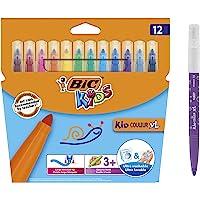 BIC Kids Kid Couleur XL Feutres de Coloriage à Pointe Large - Couleurs Assorties, Etui Carton de 12