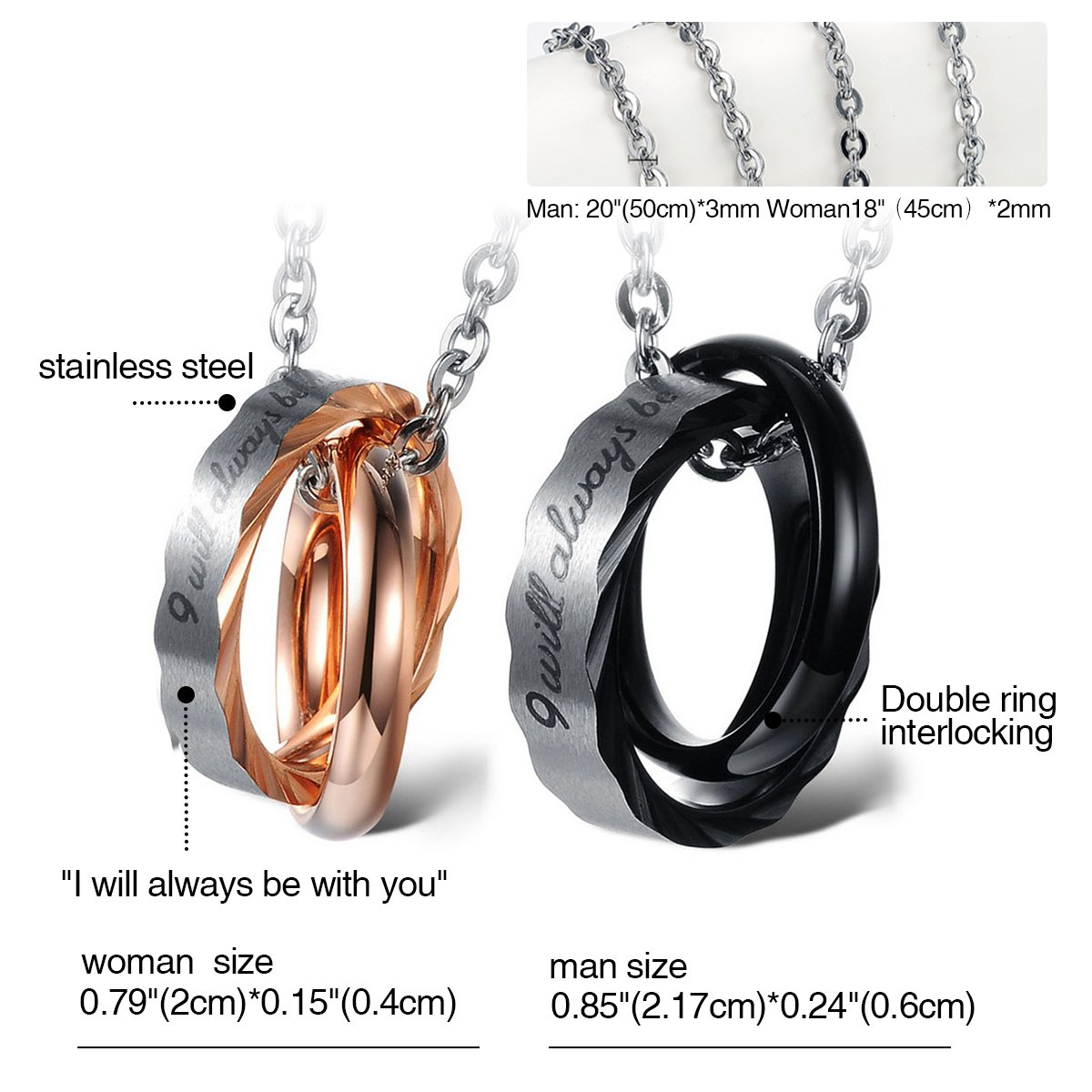 eef02127ff Cupimatch 2 Pieces Couples Necklace with Stainless Steel I Will ...