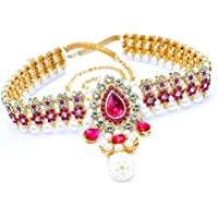 Pink City Pcm Kamar Bandh Ruby Pearl Kundan Belly Chain for Women (Golden and White)