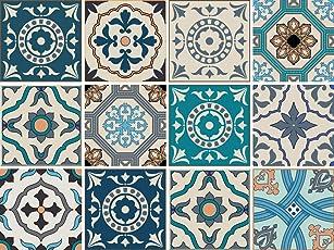 Cuadros Lifestyle Dekorative Stickerfliesen mit Tollen Motiven und Ornamenten für Wände und Fliesen | 12 Teiliges Set | seidenmatt