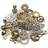 Mila-Amaz 80 Pièces Assorties Accessoires Steampunk Engrenages Vintage Gears Squelette Steampunk Pendentif Charms pour l'arti
