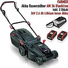 Farmer Akku Rasenmäher AM 36 Blackline mit 2 Akkus, 36 V 2.6 Ah Lithium Akku, 1 Std. Schnellladegerät, 37 cm Schnittbreite, Innovativer bürstenloser Motor