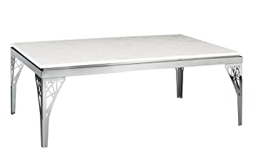 Premier Housewares Coffee Table With White Marble Top And Ornate Stainless  Steel Legs