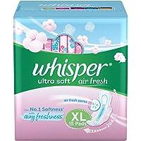 Whisper Ultra Soft Air Fresh Sanitary Pads for Women, XL, 15 Napkins