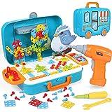 LIHAO 400 PCS Mosaik Spielzeug Steckspiel 3D&2D Pegboard Puzzle Montessori Spielzeug mit Drillen, Kreativ Spielzeug Mosaik Sp