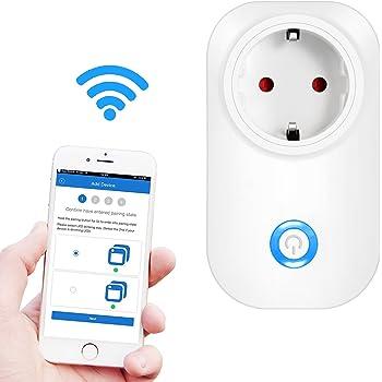 Presa WiFi Comandabile , Ubegood Spina EU Smart Plug Supporta Android e iOS Con App Dedicata e Compatibile Con Amazon Alexa Ritardante Per Fuoco - Bianco