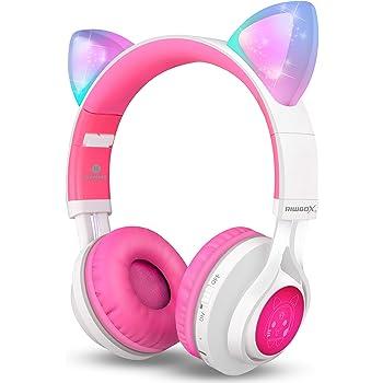 Casque Bluetooth, Riwbox CT-7Cat Oreille à LED sans Fil Pliable Casque Over Ear avec Micro et contrôle du Volume pour iPhone/iPad/Smartphone/Ordinateur Portable/PC/TV Blanc et Rose