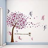 Walplus muursticker roze boom muurdecoratie kinderen muursticker sticker decoratie boom fee kinderkamer slaapkamer baby kinde