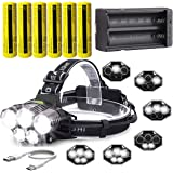 LED Rechargeable 12000 Lumens 18650 Headlamp Flashlight,Kit with 6PCS 3.7V 1500mAh Rechargeable Battery + Batteries Charger F
