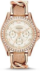 Fossil Riley Analoguhr Damen roségold – Elegante, wasserdichte Quarz Uhr aus Edelstahl mit Strasssteinen & beigem Lederarmband - mit Wochentags- & Datumsanzeige