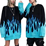 Unisex Coppie Maglioni Pullover Sciolto Maglieria Adulti Stile Casual Modello Fiamma Manica Lunga O-Collo Maglione per Coppie