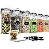 Wildone – Ensemble de 6récipients hermétiques avec contenance de 4L et couvercle anti-fuites noir pour céréales et aliments