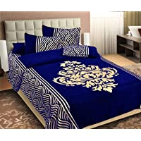 MAS GLOBAL Chenille Bed Cover with 2 Pillow Covers (King Size, Navy)