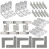 """Resistente 'L 'Forma"""" T"""", placas planas de acero inoxidable Soporte de ángulo de esquina Soporte de reparación con tornillos"""