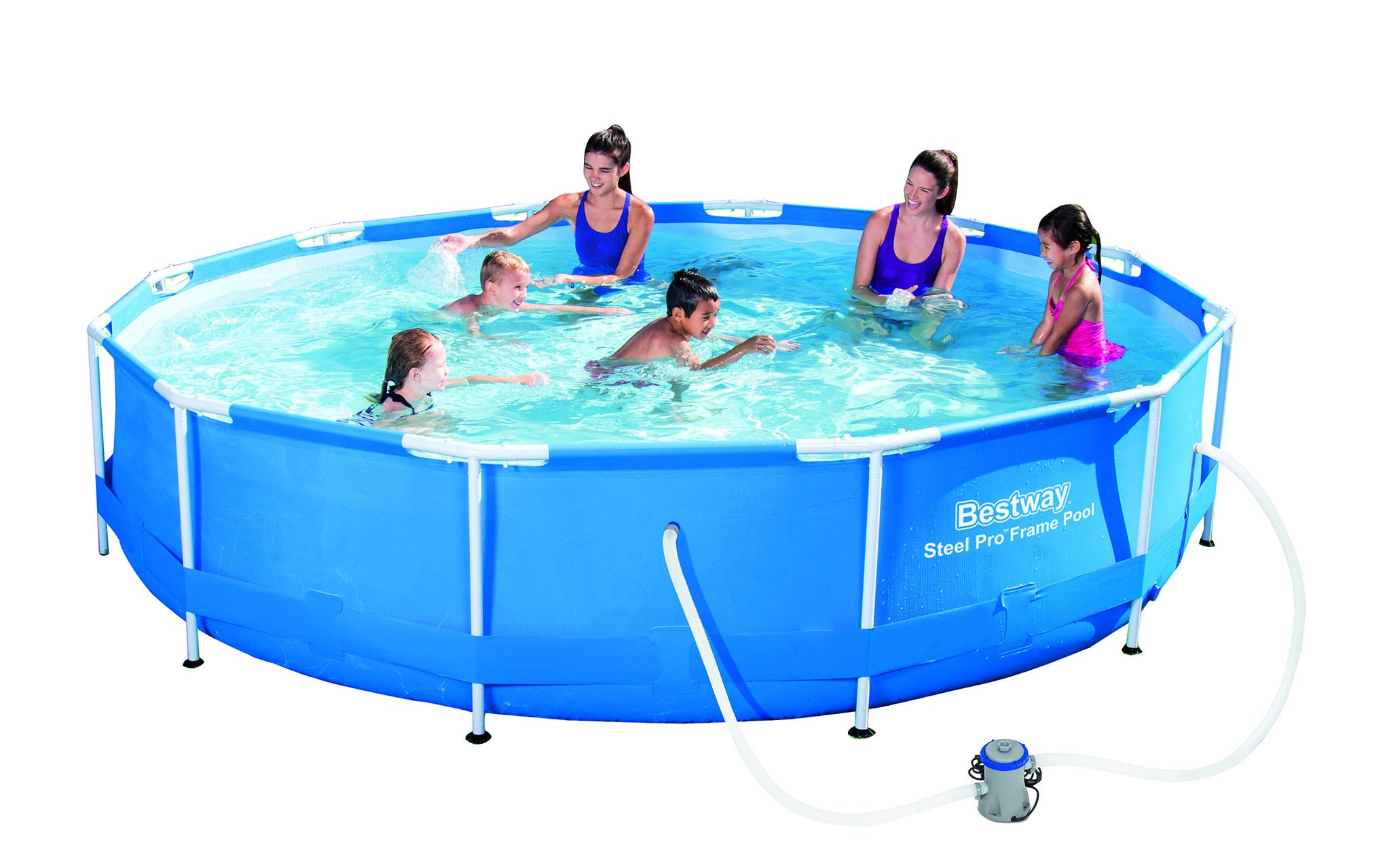 Swimming Pool With Pump Summer Outdoor Pool Metal Frame Flow Control 12ft X 30in