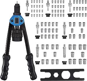 Proster Nietmutternzange Set 13 Doppelgriff Nietzange Nietmutterzange Mit 7 Austauschbare Dorne Metrische M3 M4 M5 M6 M8 M10 M12 Inkl 100 Stück Nietmuttern Mit Schrauschlüssel Blau Baumarkt