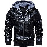 FAXIKIO Men's Faux Leather Jacket Hooded Fleece Bomber Jacket Coat Vintage Motorcycle Jacket with Removable Hood