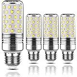 Yiizon LED Mais Glühbirne, E27, 15W, entspricht 120 W Glühlampe, 6000 K Kaltweiß, 1500LM, CRI>80 +, kleine Edison-Schraube, nicht dimmbar Kandelaber LED Glühlampen(4 PCS)