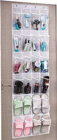Umi. by Amazon - Zapatero colgante, organizadores de zapatos para puerta, 24 bolsillos y 4 ganchos, blanco y transparente
