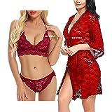 Beera Baby Doll Nightwear Robe/Kimono Lingerie/Negligee/Sleep Dress & Bra Panty Hot & Sexy for Honeymoon/First Night/Annivers