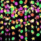 Globaldream Neon Papier Garland, 4.4m Neon Star Garland Ronde Papier Garland Driehoek Vlaggen Opknoping Slinger voor Verjaard