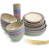 Ensemble de vaisselle en paille de blé incassable 28 pièces, bol, assiette, gobelet, vaisselle pour pique-nique, fête…