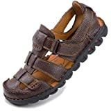 COZYO Men's Sandals,Leather Fisherman Closed Toe Sandals for Men