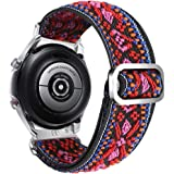 Abanen Watch Band for Samsung Galaxy Watch 3 41mm/Galaxy Active 2 40mm 44mm, Embroidery Stretchy Loop Elastic Adjustable Wris