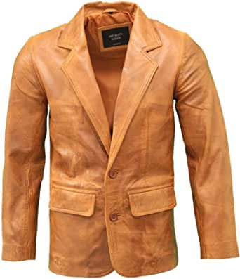 Mens Italian Leather Fitted Two Button Classic Leather Blazer in Black, Brown & Tan