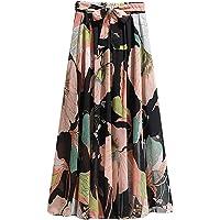 WAo Women's Floral Bohemian Skirt Chiffon Elegant Skirt Midi Elastic Skirt High Waist Knotted Summer Beach Skirts Skin…