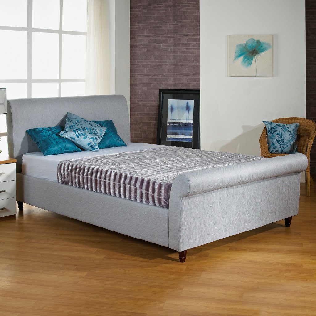 hf4you fabric upholstered sleigh bed frame 5ft kingsize ice grey no mattress frame only amazoncouk kitchen u0026 home