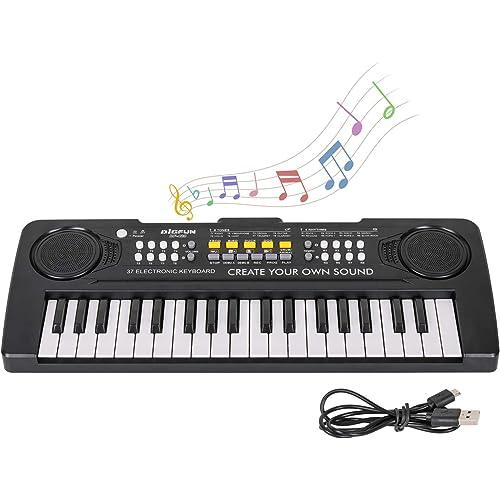 sanlinkee Tastiera Pianoforte Elettronica Bambini, Portatile Tastiera Pianoforte Musicale a 37 Tasti Digitale Tastiera Mini Insegnamento Giocattolo Regalo per Principianti Ragazzi Ragazze, Nero