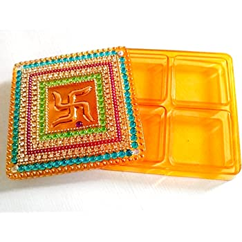Elegant Handmade Square Shape Kumkum Box, Decorated With Classic Kundan Work, and Multi-color Stones Made On Acrylic - Red Color