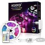 AGOTD Tiras LED, Tiras de Luces LED de 5m con Contro Remoto, 12V Tiras LED RGB Adhesivas con 16 Colores y 4 Modos de Escena p